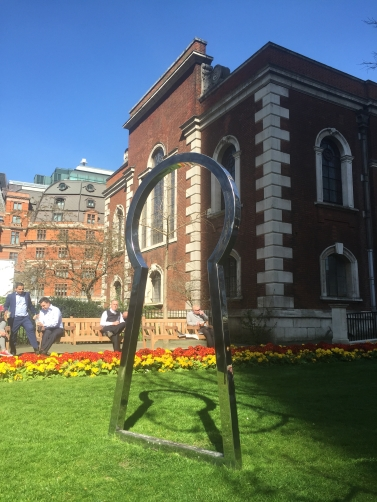 Jim Lambie, 'Secret Affair (Silver)', steel, in 'Sculpture in the City 2014', London. Photo credit Kelise Franclemont.
