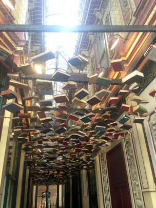 Richard Wentworth, 'False Ceiling', books hanging from wire, site-specific installation, in 'Sculpture in the City 2014', London. Photo credit Kelise Franclemont.