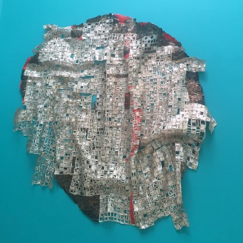 El Anatsui Hon. RA, 'Blood of Sweat', 2015, aluminium and copper wire, in Summer Show 2015 at Royal Academy of Arts, London. Photo credit Kelise Franclemont.