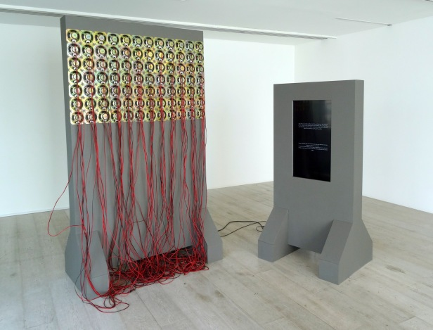 Magdi Mostafa, 'Wisdom Tower: from the series, Sound Cells (Fridays)', 2009-2012, 84x5 watt speakers, cables, audio amp, and monitor, in 'Echoes and Reverberations' at Hayward Gallery Project Space, Southbank Centre London. Photo credit Kelise Franclemont.