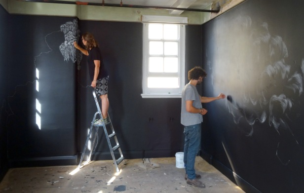 Alice Shirley and Guy Haddon-Grant working on their installation, at 'Office Sessions IV: Beak Street', 40 Beak Street, London. Photo credit Kelise Franclemont.