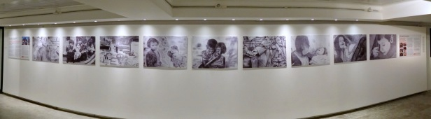Drawings by teenagers in Gaza as part of the Culture and Free Thought Association (CFTA) supported by Christian Aid, in 'Gaza on Gaza' exhibition at P21 Gallery, London. Photo credit Kelise Franclemont.