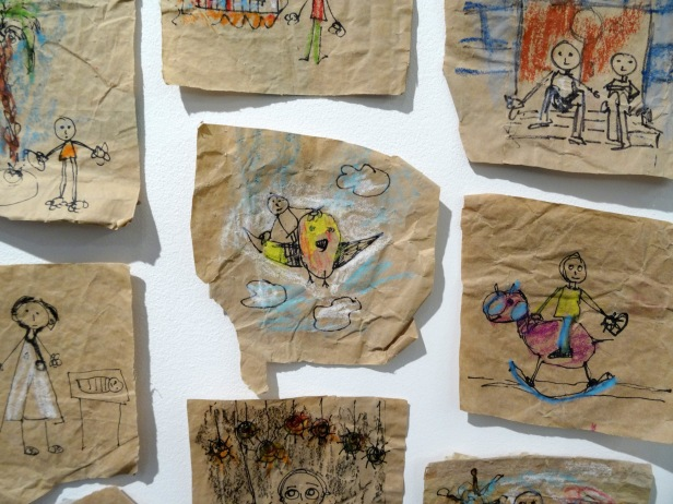 Majdal Nateel, 'If I wasn't there' (detail), 2015, series of drawings on paper in 'Gaza on Gaza' exhibition at P21 Gallery, London. Photo credit Kelise Franclemont.