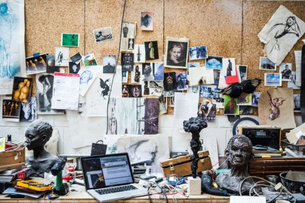 Inside the studio of artist Guy Haddon-Grant. Image courtesy the artist and Karavil Contemporary, London.