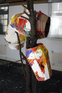 Nicholas Cheeseman, untitled, 2015, wood, paint, corrugated card. Image courtesy the artist.