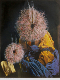 Sasha Bowles, 'Inquisitors' from 'Interventions' series, 2015, oil on found image. Image courtesy the artist.