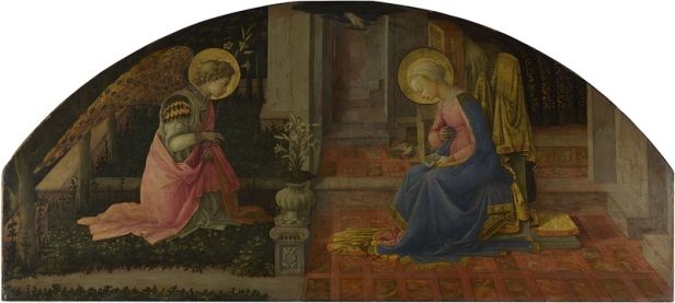 Fra Filippo Lippi, born about 1406; died 1469, The Annunciation, about 1450-3, Egg tempera on wood, 68.6 x 152.7 cm. http://www.nationalgallery.org.uk/paintings/NG666