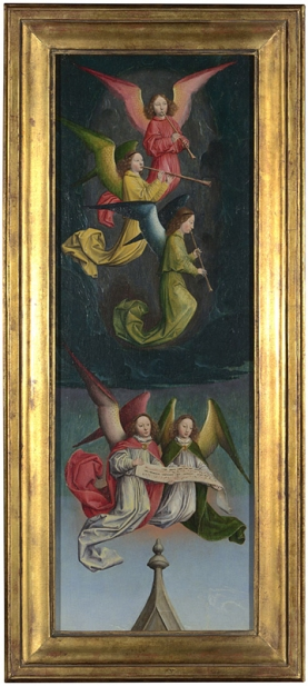 Simon Marmion, active 1449; died 1489, A Choir of Angels: From Left Hand Shutter, about 1459, Oil on oak, 57.6 x 20.9 cm. This painting is part of the group: 'Fragments of Shutters from the St Bertin Altarpiece',(NG1302-NG1303). http://www.nationalgallery.org.uk/paintings/NG1303