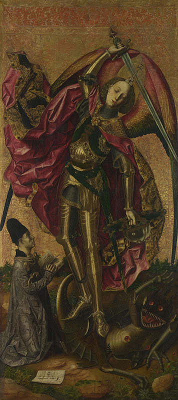 Bartolomao Bermejo, about 1440 - after 1495 Saint Michael triumphant over the Devil with the Donor Antonio Juan 1468 Oil and gold on wood, 179.7 x 81.9 cm Bought by Private Treaty Sale with a grant from the American Friends of the National Gallery, London, made possible by Mr J. Paul Getty Jnr's Endowment Fund, 1995 NG6553 http://www.nationalgallery.org.uk/paintings/NG6553