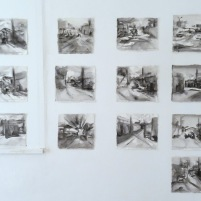 Aya Abu Ghazaleh, 'Refugee Camp: A place under experiment', 2014, ink and charcoal sketches on paper, in 'Suspended Accounts'', Qalandiya International 2014 biennial art fair in Ramallah Municipal Hall, Palestine. Photo credit Kelise Franclemont.