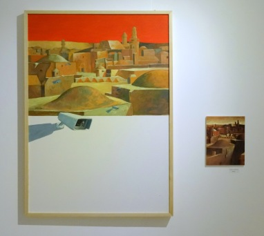 Bashar Khalaf, 'Shadow of the shadow', 2014, oil on canvas, in 'Suspended Accounts', Qalandiya International 2014 biennial art fair in Ramallah Municipal Hall, Palestine. Photo credit Kelise Franclemont.