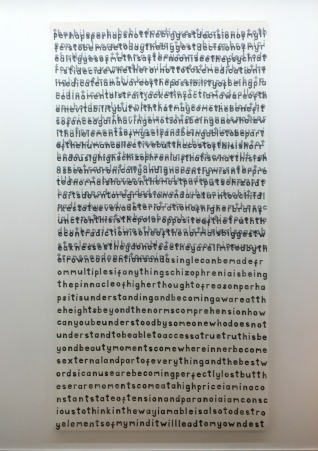 J Price, 'adeclarationandamanifsto/butyoujustsawsex', 2015, hand-carved letters printed onto curtain liner, in 'Young Gods' 2016 at Griffin Gallery, London. Photo credit Kelise Franclemont.