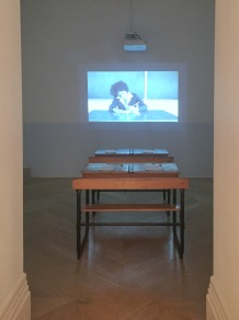 Farah Saleh, 'A Fidayee son in Moscow', 2014, video and installation, in 'Suspended Accounts' at The Mosaic Rooms, London. Photo credit Kelise Franclemont.