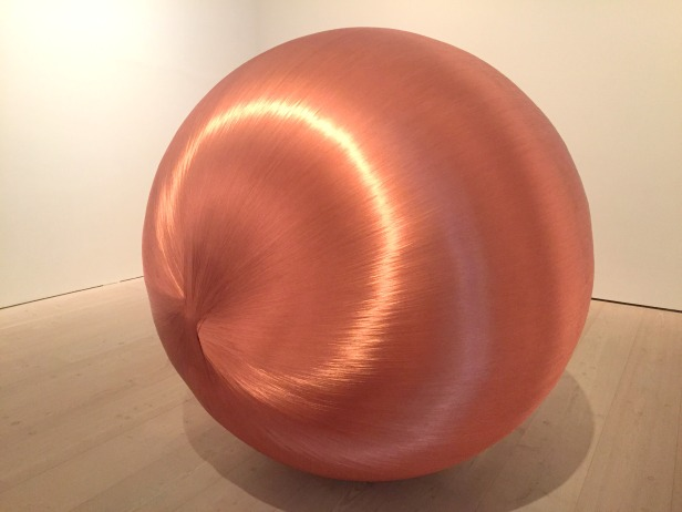 Alice Anderson, '181 Kilometers', 2015, Sculpture made after performances, copper thread, in 'Champagne Life' at Saatchi Gallery, London. Photo credit Kelise Franclemont.