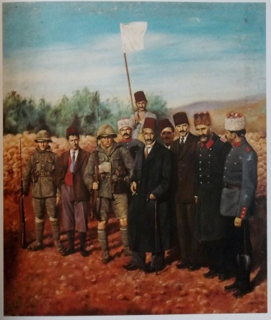 Nicola Saig, 'Husseini Surrender', 1918, oil on canvas. Image courtesy Khalid Shoman Foundation, Amman, in 'Palestinian Art' by Kamal Boullata.