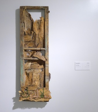 Rana Bishara, untitled, 2006, wooden window frame, dried cactus, multi-media, in Bank of Palestine collection. Photo credit Kelise Franclemont.