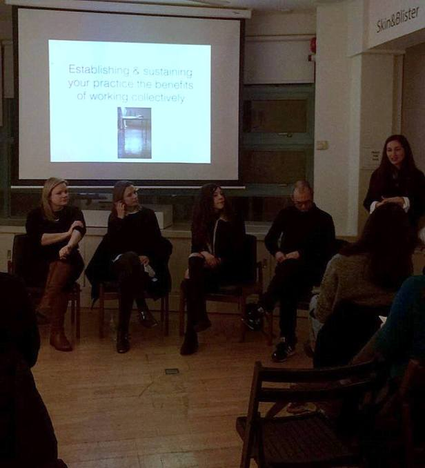From exhibition talk/event 'Establishing and sustaining your practice: the benefits of working collectively', 2016, in 'Skin&Blister' at Photofusion, Brixton, London. Image courtesy the Skin&Blister Facebook page.