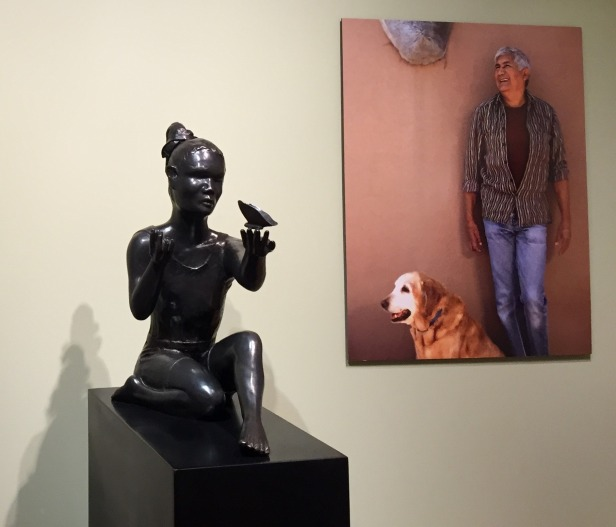 Michael Naranjo (pictured right), installation view, 'The artist who sees with his hands', at Booth Western Art Museum, Cartersville, Georgia, USA. Photo credit Kelise Franclemont.