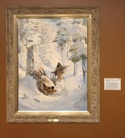 John Ford Clymer, 'Marie Dorion, Winter Refuge in 1814', oil on canvas, at Booth Western Art Museum, Cartersville, GA. Photo credit Kelise Franclemont. The card reads: '...depicts the widowed Marie Dorion who fled into the mountains of the Oregon Territory after local Natives killed her husband... In order to endure the winter, she used fur skins and tree materials to build a wigwam, utilising the meat from horses she had captured for food.'