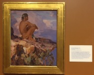 "Carl Oscar Borg, 'Into the great silence', 1922, oil on board, at Booth Western Art Museum, Cartersville, GA. Photo credit Kelise Franclemont. The card reads: 'Soon after Borg emigrated from to the US from his native Sweden, he worked as a scene painter for silent movies in Hollywood. His dream to paint the Native American West was made possible by the support of three influential Californians...Borg traveled to the Western outback with artist Edward Borein in hopes of capturing subject matter from a civilisation he believed to be on the edge of extinction. He so loved the Grand Canyon as an uncorrupted relic from antiquity, that he willed his ashes would be scattered into its ""great silence"".'"