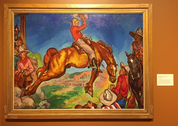 William Penhallow Henderson, 'Sky high, Powder river', 1915, oil on canvas, at Booth Western Art Museum, Cartersville, GA. Photo credit Kelise Franclemont. The card reads: '...This colourful painting is influenced by the French art style known as Fauvism. WP Henderson is remembered as a highly-inventive New Mexico artist, teacher, children's book illustrator, and architect.'
