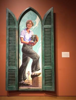 Jim Vogel, 'Dorothea Lange', 2011, oil on canvas on board, painted wood, at Booth Western Art Museum, Cartersville, GA. Photo credit Kelise Franclemont.