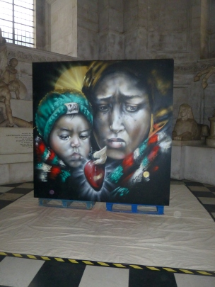 CBloxx, title unknown, 2015, spray paint on board, at St Paul's Cathedral, London. Image courtesy londoncallingblog.net.