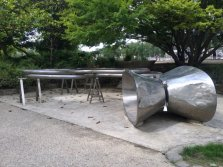 Micha Laury (Israel/France), 'Mind Accumulation', 1988, stainless steel, in Musée de la Sculpture en Plein Air, Paris. Photo credit Kelise Franclemont.