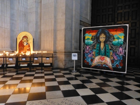 Inkie, 2015, installed work, at St Paul's Cathedral, London. Image courtesy londoncallingblog.net