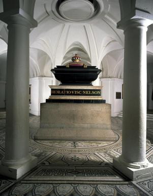 Admiral Nelson's Tomb in the crypt, at St Paul's Cathedral, London. Image courtesy Stpauls.co.uk