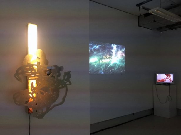 Installation view, 'Fast Forward/Rewind' at Punctum Gallery, Chelsea College of Arts, London. Photo credit Kelise Franclemont.