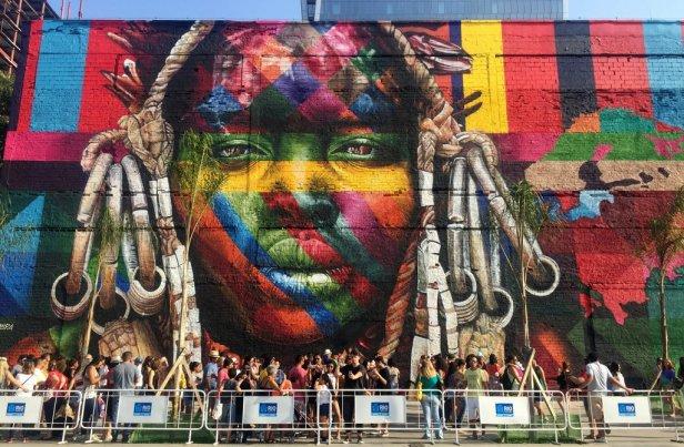 Eduardo Kobra, 'Etnias [Ethnicities]', 2016, mural 620-feet long (detail), at Praça Mauá port, Rio de Janeiro. Photo: Kelise Franclemont.
