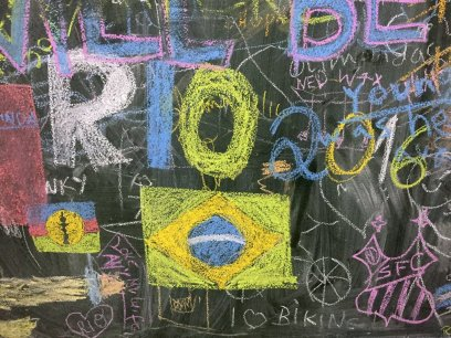 A chalk graffiti space where visitors can contribute, Museu Internacional de Arte Naïf do Brasil, Rio de Janeiro. Photo: Kelise Franclemont.