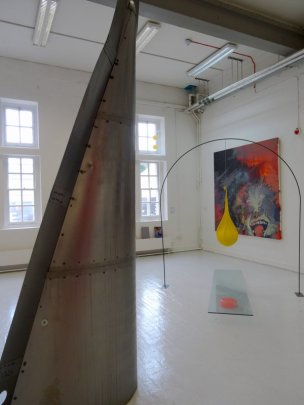 (l-r) Ban-Yuan Chang, Kaixi Rao, Soo Jin Roo, installation view, room DG05, in 2016 MA Fine Art Postgraduate Summer Show at Chelsea College of Arts, London. Photo credit Kelise Franclemont.