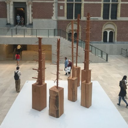 Guiseppe Penone, 'Albero di 8, 10, 11 metres', 2000, 1989, and 1999 respectively, and 'Nel Legno', 2010, in 'Penone in the Gardens' at Rjjksmuseum, Amsterdam. Photo: Kelise Franclemont.