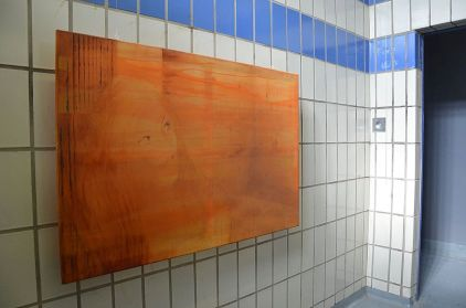 Alex Roberts, 'Traffik', 2016, pigment, acrylic and oil on silk organza, 80 x 120 cm, in 'The Room is the Resonator', at The Old Police Station, Deptford, London. Photo credit Paul Abbott.