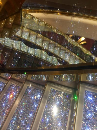 Detail of Swarovski staircase, aboard MSC Splendida, 2016. Photo credit Kelise Franclemont.