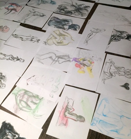Finished drawings, at Drink-and-Draw at The Exhibit. Image courtesy the artists.