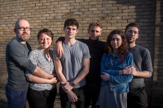 (l-r) The cast of 'Holding the Man': Dickon Farmar, Marla-Jane Lynch, Paul-Emile Forman, Christopher Hunter, Emma Zadow, Sam Goodchild. Image courtesy Big Boots Theatre Company. Photo: Nicholas Chinardet.