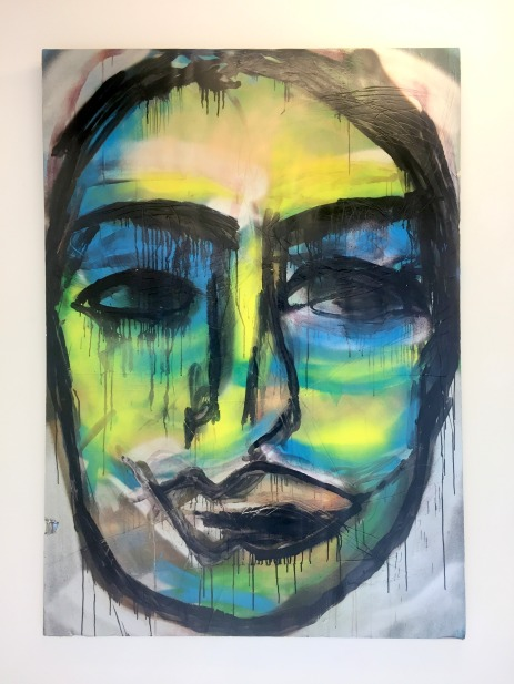 Adam Zoltowski, 'Self-portrait, with Monika', 2016, spray paint and ink on polyurethane and aluminium board, in 'Foreign Bodies', 242 Cambridge Heath Road, London. Photo credit Kelise Franclemont.