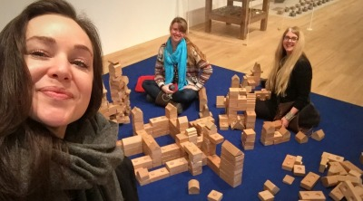 (l-r) Celia Peachey, Kelise Franclemont, and Heather Gentleman with their constructions, 2017, at Tate Modern, London. Photo credit Celia Peachey.