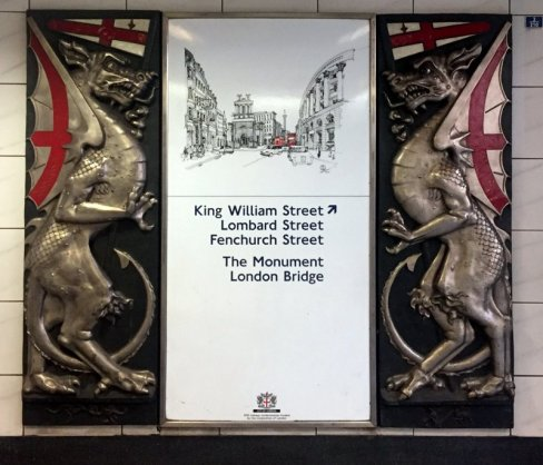 City of London dragons, Underground station at Monument. Photo credit Kelise Franclemont.