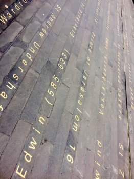 Simon Patterson, 'Time and Tide' (detail), 2004, inlaid stone text on pavement, LED plasma screens, Plantation Lane, EC3, London. Photo credit Kelise Franclemont.