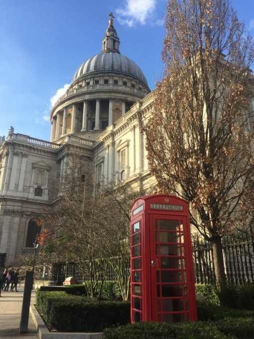 Sir Giles Gilbert Scott's telephone box, 1924, and St. Paul's Cathedral, London. Photo credit Kelise Franclemont.