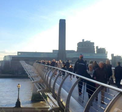 Tate Modern from the north side of Millennium Bridge. Photo credit Kelise Franclemont.