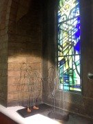 Marilyn Collins, two maquettes (untitled), 2017, wire, wood, chipboard and staples, in 'Water Stations' at Emmanuel Church, West Hampstead, London. Image courtesy the artist. Photo credit Kelise Franclemont.