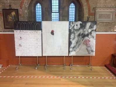 Triptych, 3 large paintings.