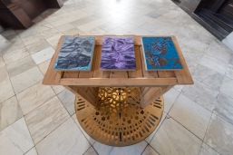 James Pimperton, 'The Three States [triptych', 2017, oil on panel and wooden lectern, in 'Stations of Water' at St Paul's Cathedral, London. Image credit Graham Lacdao.