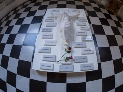 Marcela Montoya-Turnill, 'I Thirst', 2017, wood, fibreglass, marble, and cloth, in 'Stations of Water' at St Paul's Cathedral, London. Image credit Graham Lacdao.